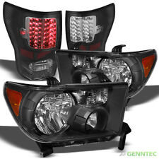 For 07-13 Tundra Blk Headlights (Amber Reflector) + LED Tail Lights Combo