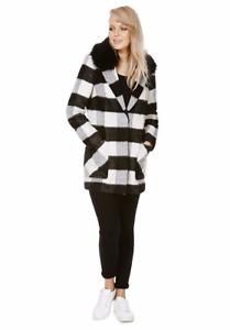 NEW LADIES WOMEN'S Monochrome Check Faux Fur Collar Boyfriend Coat  UK size 6
