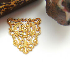 BRASS CREST Scroll Shield Filigree Stamping - Jewelry Ornament Finding (CB-3041)