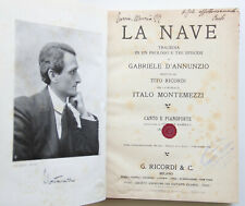 D'Annunzio La nave Spartito Canto Pianoforte 1919 prima edizione Montemezzi