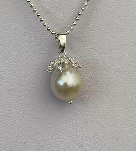 11-12mm High Lustre White Edison Baroque Pearl Pendant  CZ Sterling Silver Bail