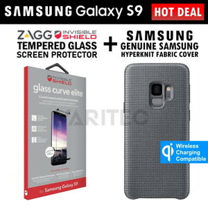 Zagg S9 Glass Screen Protector + Samsung Fabric Cover Case for Samsung Galaxy S9