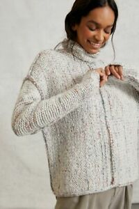 Anthropologie Pilcro Noelle Chunky Knit Turtleneck Sweater Space Gray Wool NWT S