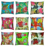 5 PC Lot Indian Kantha Cushion Pillow Cover Decorative Boho Handmade Embroidery
