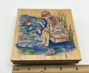 Stamps Happen Stamp Children at Dock Brother Sister Boy Girl Water Lilly Pads