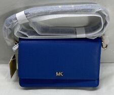Michael Kors Phone Crossbody Mott Leather Vintage Blue Nwt