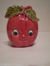 Vtg Enesco anthropomorphic apple face napkin holder-numbered & original sticker