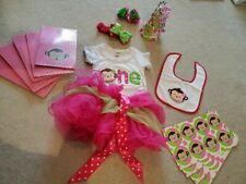1st Birthday Baby Girl Pink & Green Monkey Outfit and Party Accessories Supplies
