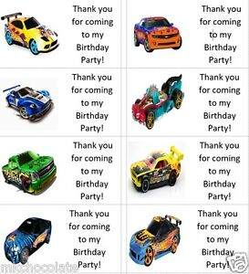 40 x Personalised Hot Wheel/s Car/s labels/stickers/party/cake/sweet/bag