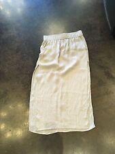 Helmut Lang putty silk crinkled long skirt M