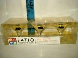 Patio Companion 3 Mini Martini Citronella Candles new in box