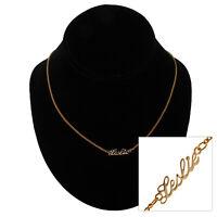 """Vintage Script 16"""" Gold Tone Name """"Leslie"""" Charm Necklace"""