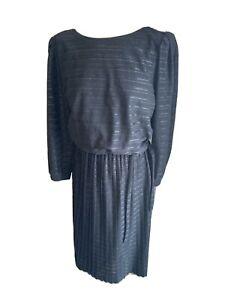 VINTAGE 80's BLACK & SILVER STRIPE  NEW WAVE TEA DRESS UK 12/14 MEDIUM