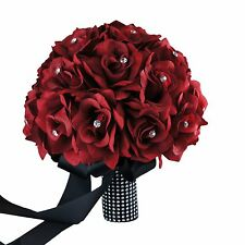 "10"" Bouquet-Apple Red silk roses rhinestone,black thick handle"