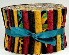 "Jelly Roll Strips Quilting Fabric 20~2.5"" Burgundy Turquoise Gold Teal Cotton"