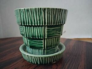"""Vintage McCoy 3"""" flowerpot with attached saucer, green, Basket Weave pattern"""