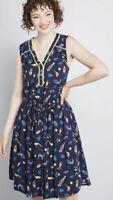 Modcloth Cafe Au Soleil Blue Tropical Bird Sleeveless Dress Size Medium NWT