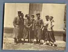 Tunisie, Sidi Abdallah, Groupe des zouaves  Vintage citrate print. Tirage citr