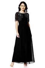 NEW Black Maxi Dress Gatsby Dress Embellished Bridesmaid Party Gown SIZE 16
