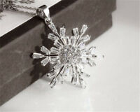 Christmas Frozen Snowflake Silver Necklace Crystal Winter Snow Chain Jewelry