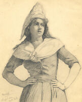 Kenneth E. Wootton, Model at Clapham Art School – 1910s graphite drawing