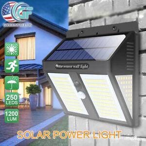 Outdoor 250 LED Solar Power Lights PIR Motion Sensor Wall Lamp Garden Waterproof