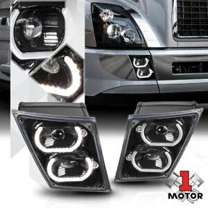 Black [DUAL LED U-HALO] Projector Bumper Fog Light for 04-18 Volvo VN VNL Series