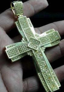 Men's New 14k Yellow Gold Finish Lab Canary Simulate Diamond Cross Charm Pendant