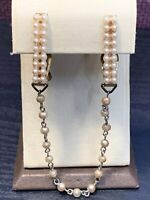 1950's Vintage Faux Pearl Gold Tone  Sweater Chain Clip Scarf
