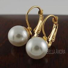 Elegant 9ct Gold Plated Womens Bridal Faux Pearl Dangle Drop Earrings UK NEW -18