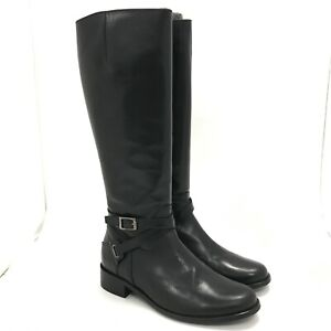 Duo High Knee Boots UK 4 Women's Black Casual Occasion Leather Buckled 481026