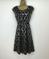 Jesire Shift Dress Size Large UK 14 Black Grey Sequin Diamond Womens