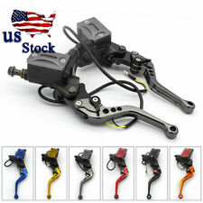 "USA Universal 7/8"" Motorcycle Brake Clutch Master Cylinder Hydraulic Levers Gray"