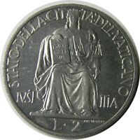 elf Vatican City 2 Lire 1951 Pius XII  Fortitude and Lion