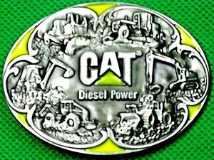 """Belt Buckle """"CAT"""" Diesel Power Machinery, 4 cm Wide, DIY, Custom Metal Casting."""