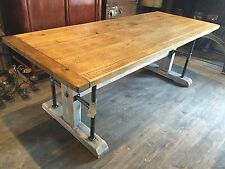 Rustic Reclaimed Pine 7ft Union Steamer Frame Dining Table Industrial Steampunk