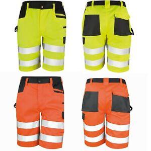 Herren Arbeitsshorts Warnschutz Cargo Kurze Hose Shorts EN20471 Übergröße XS-4XL