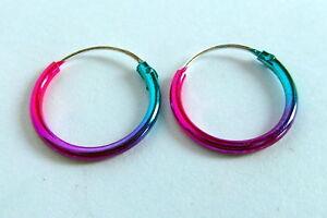 Pair Of Sterling Silver Anodised  Hoop Earrings 12 mm  !!     New  !!