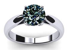 Moissanite Diamond Solitaire 925 Silver Ring 2.55 Ct Vvs1.Round Brown Blue White