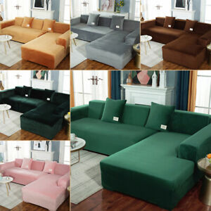 Couch Thick Soft Velvet Stretch Sofa Cover Non Slip Straps Furniture Protector