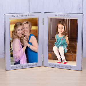 Mum & Grandma Silverplated Double Photo Frame 6x4 - Personalised Mothers Day