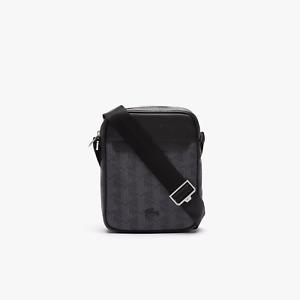 Lacoste Noir Gris The Blend Monogram Canvas Vertical Bag