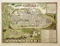 MAP ANTIQUE 16TH CENTURY JERUSALEM CITY PLAN LARGE REPLICA POSTER PRINT PAM0177