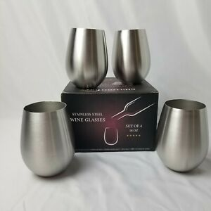 4 NEW WINE GLASSES STEMLESS CHILLOUT LIFE STAINLESS STEEL 4 PACK 18OZ