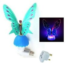 Novedad De Fibra Óptica Mariposa Infantil Luz De Noche Led Color Cambiante Lámpara-Azul
