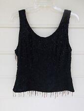 Beaded Silk Evening Blouse - Black - Paradise NY - Size L