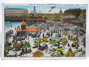 1926 POSTCARD EVERYDAY CROWD BEACH LONG BEACH CAL W/ ROLLER COASTER, BLIMP