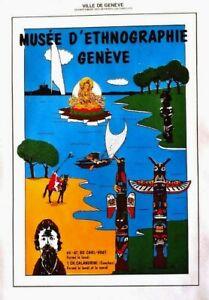 Original vintage poster ETHNOGRAPHY MUSEUM GENEVA c.1980