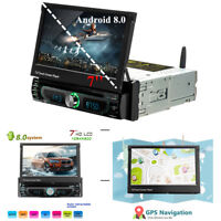 "7"" Car GPS DVD Single Din MP5 Player Stereo Bluetooth WIFI Radio USB Android 8.0"