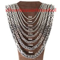 New Heavy 925 Sterling Silver Mens Byzantine Kings Chain Necklace Pendant